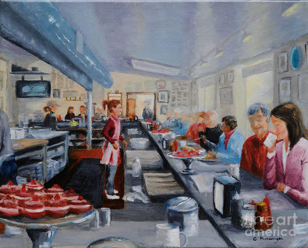 Diners Club Painting - Fred's Breakfast Of New Hope by Cindy Roesinger