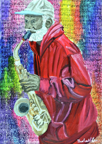 Sax Painting - Free Hat by Michael Lee