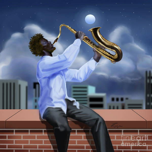 Painting - Free Jazz Moon by Reggie Duffie