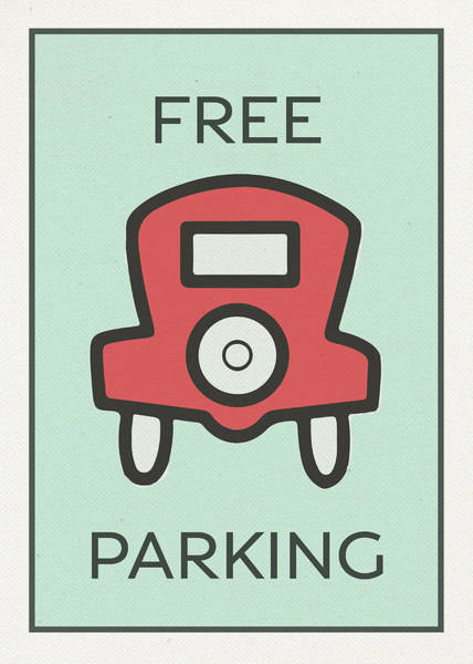 Wall Art - Mixed Media - Free Parking Vintage Monopoly Board Game Theme Card by Design Turnpike