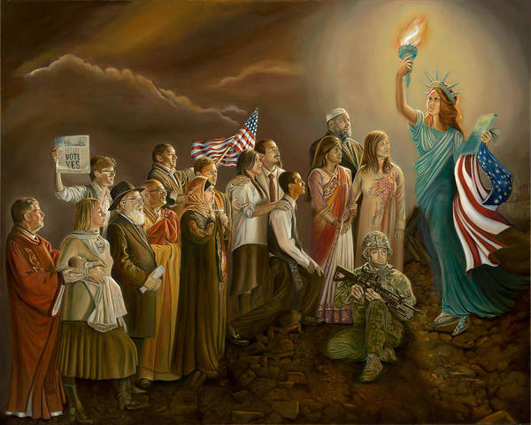 Painting - Freedom-liberty Lighting Our Way by Sharon Lange