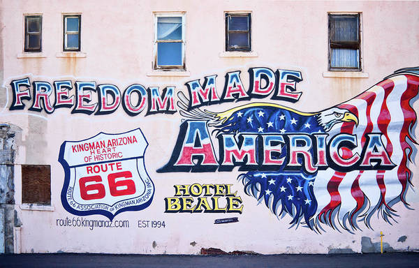 Photograph - Freedom Made America - Mural Art On Route 66 by Tatiana Travelways