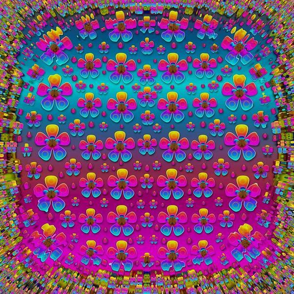 Groovy Mixed Media - Freedom Peace Flowers Raining In Rainbows by Pepita Selles