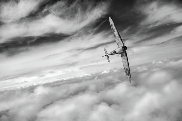 Photograph - Freedom - Spitfire Solo Black And White Version by Gary Eason
