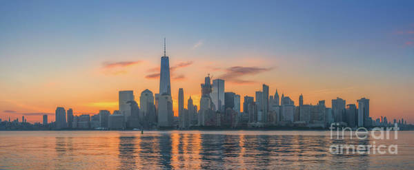 Lower Manhattan Photograph - Freedom Tower Sunrise Panorama by Michael Ver Sprill
