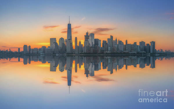 Lower Manhattan Photograph - Freedom Tower Sunrise Reflections by Michael Ver Sprill