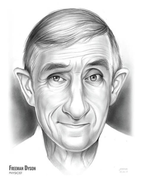 Wall Art - Drawing - Freeman Dyson by Greg Joens