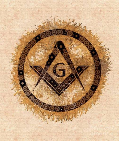 Wall Art - Painting - Freemason, Mason, Masonic, Lodge, Symbol by Mary Bassett