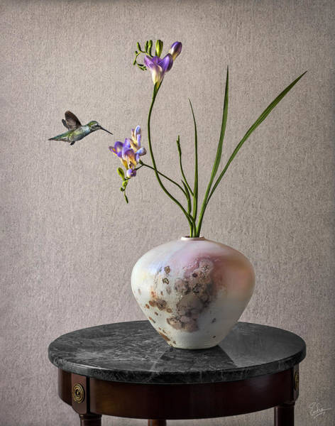 Photograph - Freesias In A Raku Vase by Endre Balogh