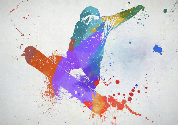 Wall Art - Painting - Freestyle Snowboarder by Dan Sproul