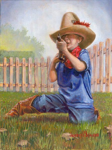 Cowboys Wall Art - Painting - Freeze Buckaroo by Jeff Brimley