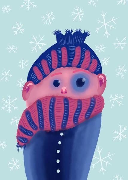 Winter Time Digital Art - Freezing Kid In Winter by Boriana Giormova