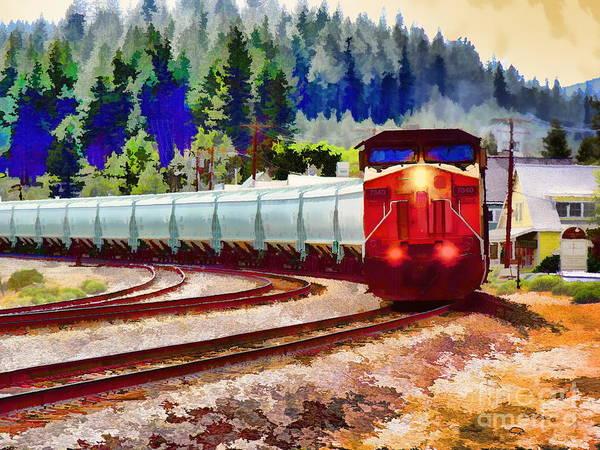 Digital Art - Freight Train Watercolor by Joe Lach