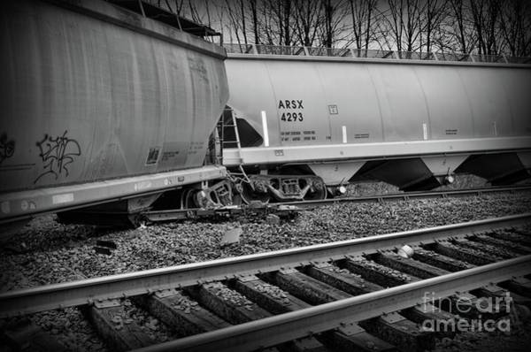 Train Derailment Photograph - Freight Train Wreckage In Black And White by Paul Ward