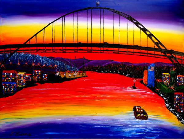 Wall Art - Painting - Fremont Bridge At Dusk #15 by Dunbar's Modern Art