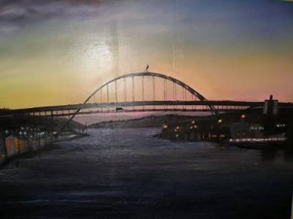 Wall Art - Painting - Fremont Bridge By Night by Dunbar's Modern Art