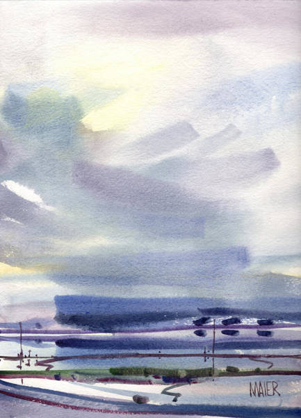 Skyscape Painting - Fremont Salt Pans by Donald Maier