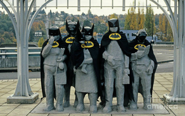 Jim Richards Photograph - Fremont Statues Batman by Jim Corwin