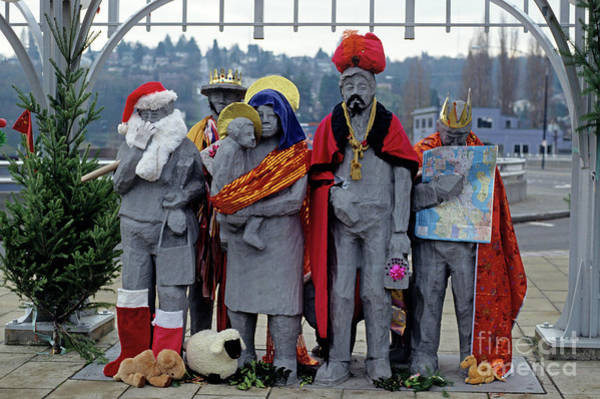 Jim Richards Photograph - Fremont Statues Nativity Scene by Jim Corwin