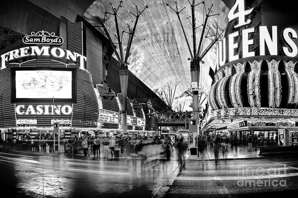 Time Exposure Wall Art - Photograph - Fremont Street Casinos Bw by Az Jackson