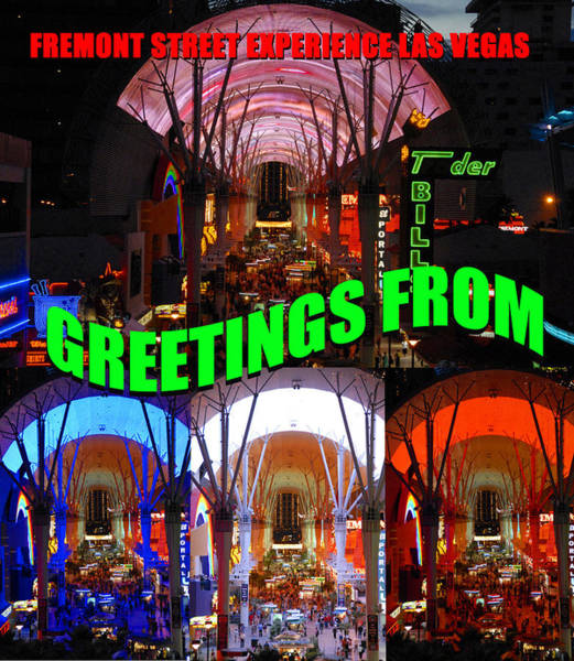 Wall Art - Photograph - Fremont Street Experience Custom Card by David Lee Thompson