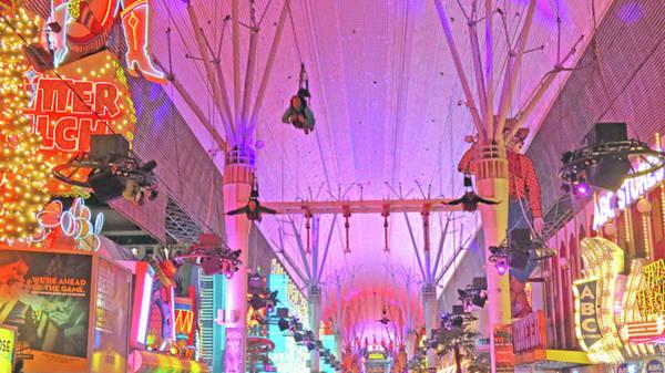 Photograph - Fremont  Street  Flyers  Las  Vegas by Carl Deaville