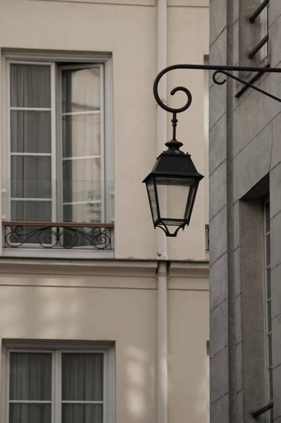 Photograph - French Alley Lantern-sepia by Jani Freimann