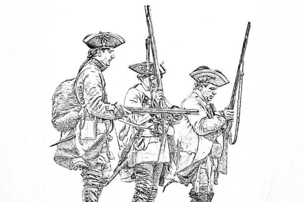 Royal Artillery Wall Art - Digital Art - French And Indian War British Soldiers Sketch by Randy Steele