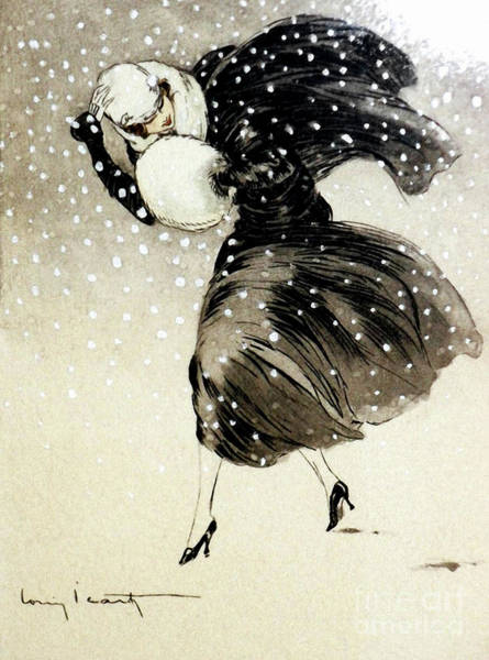 Wall Art - Painting - French Art Deco Woman In A Blizzard Yet Still Fashionable by Tina Lavoie