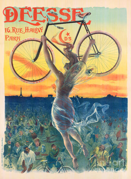 Blue Dress Painting - French Art Nouveau Poster For Deesse Bicycles, Circa 1898 by Pal