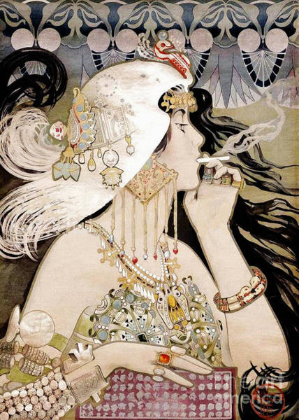 Wall Art - Painting - French Art Nouveau Smoking Woman Collage by Tina Lavoie
