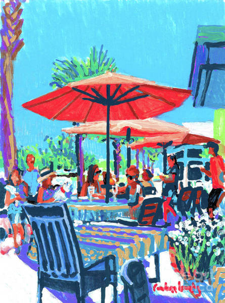 Bakery Painting - French Bakery Umbrella Dining by Candace Lovely