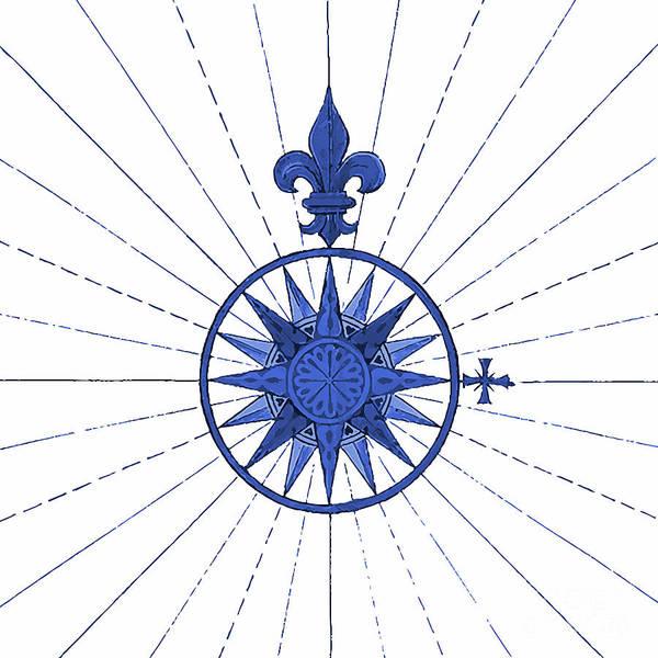 Fleur De Lys Painting - French Blue Compass Nautical Art by Tina Lavoie