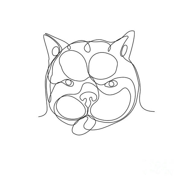 Wall Art - Digital Art - French Bulldog Head Continuous Line by Aloysius Patrimonio