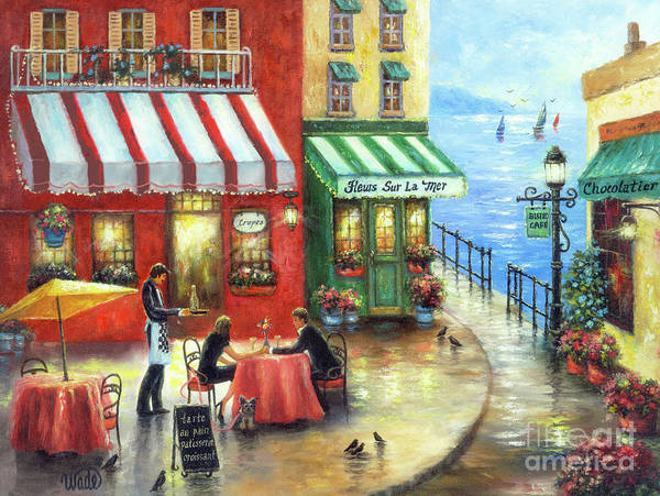 Wall Art - Painting - French Cafe By The Sea II by Vickie Wade