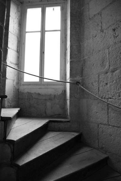Photograph - French Castle Staircase Bw by Jani Freimann