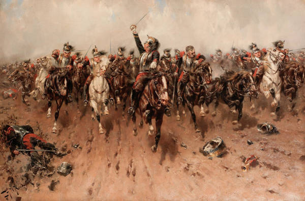 Wall Art - Painting - French Cavalry Charging by Hermanus Willem Koekkoek