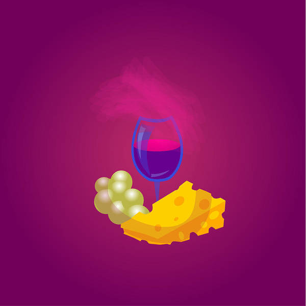 Ingredient Digital Art - French Cheese And Glass Of Wine by Dragana  Gajic