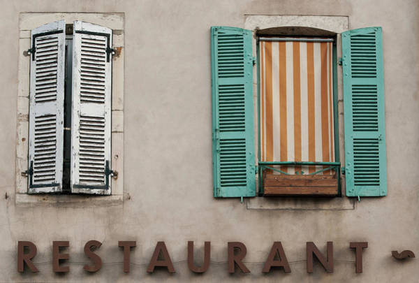 Photograph - French Country Restaurant Windows by Jani Freimann