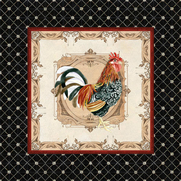 Painting - French Country Roosters Quartet Black 1 by Audrey Jeanne Roberts