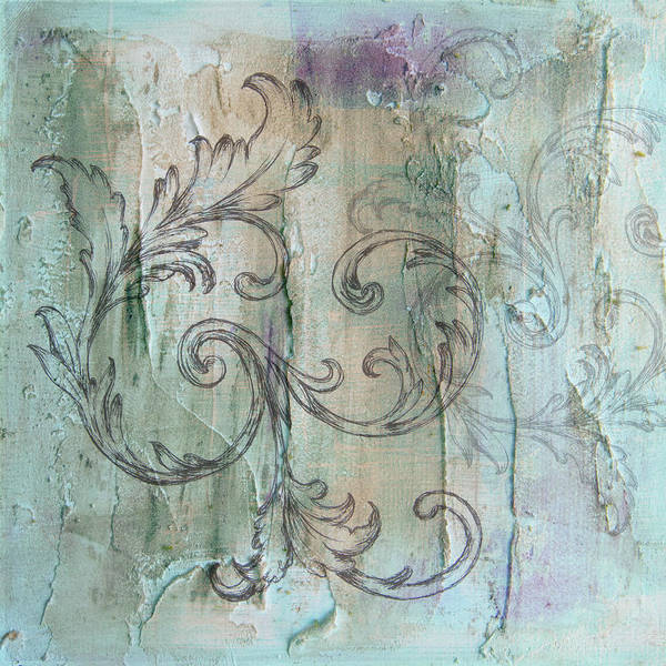 Painting - French Country Scroll In Muted Blue by Jocelyn Friis