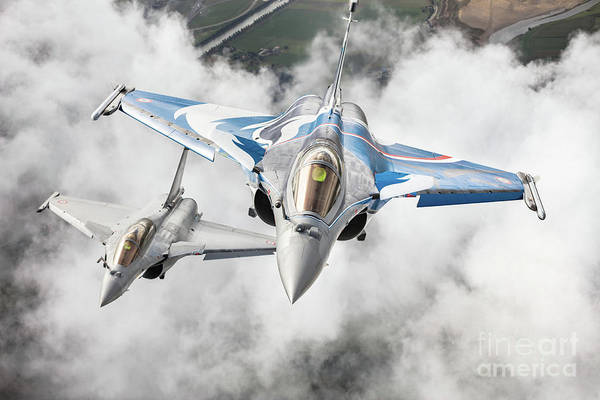 Aerial Combat Photograph - French Dassault Rafale Formation 1 by Rastislav Margus