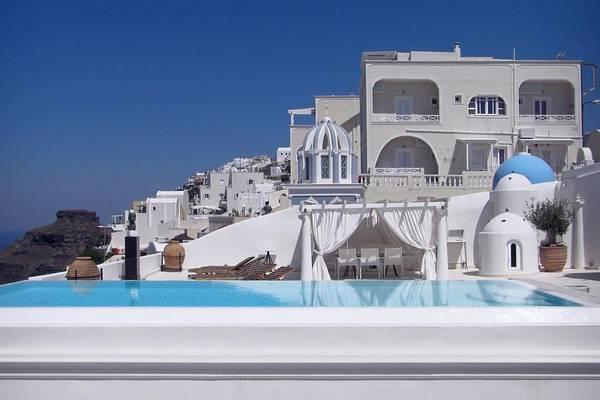 Photograph - French Dip - French Embassy, Santorini by KJ Swan