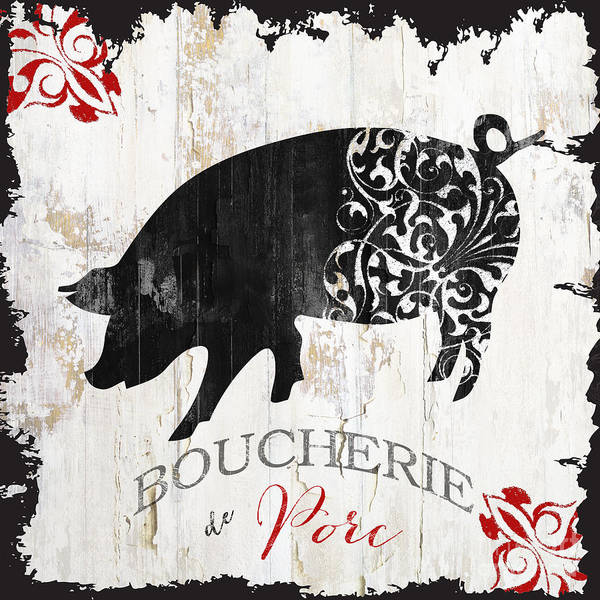 Wall Art - Painting - French Farm Sign Piglet by Mindy Sommers
