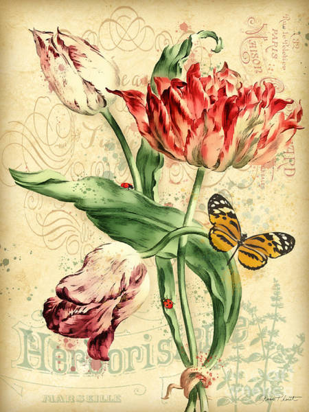 Tulip Bloom Painting - French Florals-jp3835 by Jean Plout