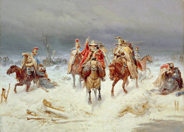 Russian River Painting - French Forces Crossing The River Berezina In November 1812 by Bogdan Willewalde