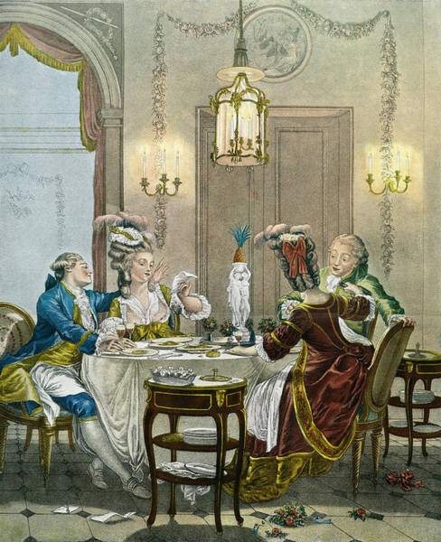 Flirting Drawing - French Gentry Dining In The 18th by Vintage Design Pics