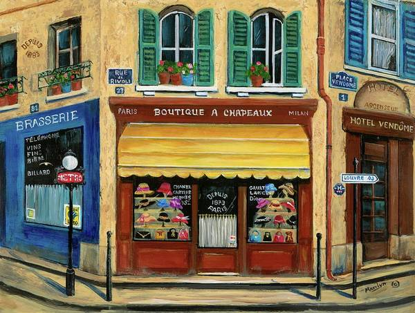 Brasserie Wall Art - Painting - French Hats And Purses Boutique by Marilyn Dunlap