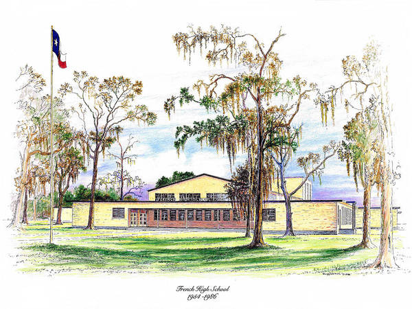 Drawing - French High School by Randy Welborn