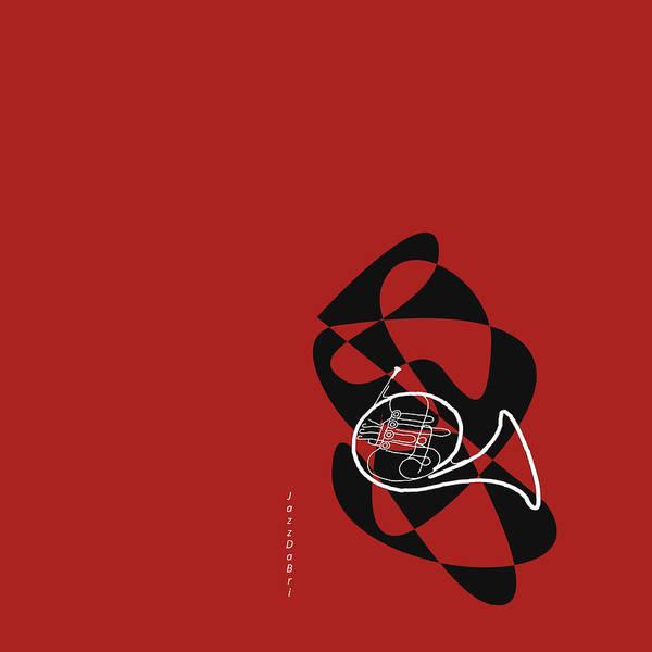 Digital Art - French Horn In Orange Red by David Bridburg
